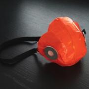 red respirator mask